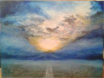 Straße, Wolken, Nebel, Himmel