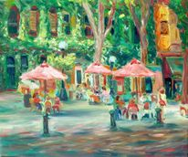 Strassencafe, Expressiver realismus, Ölmalerei, Malerei