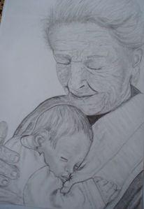 Baby, Herz, Großmutter, Gesicht