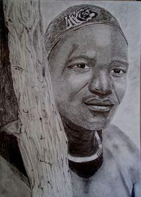 Schwarz stamm gesicht, Zeichnungen, Portrait