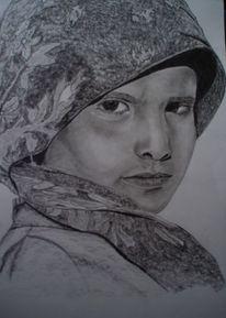 Tuch augen gesicht, Zeichnungen, Portrait, Tuch