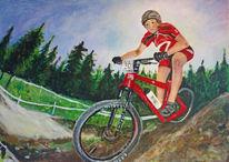 Mountainbike, Sort, Fahrrad, Malerei