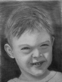 Lachen, Junge, Bleistiftzeichnung, Malerei