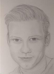 Portrait, Junger mann, Bleistiftzeichnung, Malerei