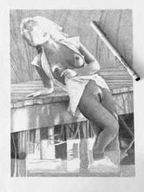 Schraffurtechnik, Frau, Stimmung, Zeichnungen