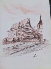 Kohlezeichnung, Gebäude, Sephia, Zeichnung