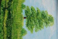 Malerei, Pflanzen, Baum, Sommer