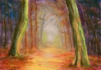 Herbst, Waldweg, Licht, Herbstlaub