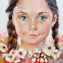Portrait, Kinderportrait, Zeichnung, Blumen