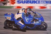Ölmalerei, Motorrad, Rennen, Malerei