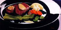 Mahlzeit, Teller, Ölmalerei, Tischgedeck