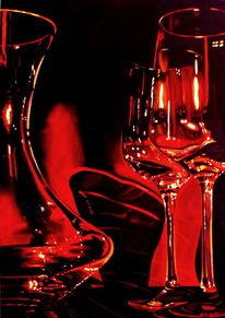 Weinglas, Rotwein, Karaffe, Ölmalerei
