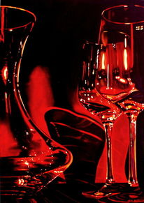 Rotwein, Karaffe, Ölmalerei, Glas