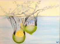 Zitrone, Wasserspritzer, Wasser, Malerei