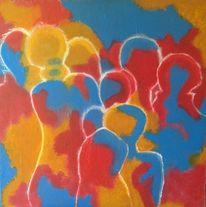 Gemeinschaft, Menschen, Gruppe, Malerei