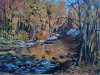 Laub, Märchenwald, Öl auf malkarton, Fluss