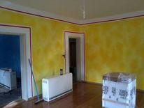 Wandgestaltung, Lasurtechnik, Gestaltung, Volltonfarbe