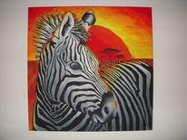 Afrika, Tiere, Acrylmalerei, Zebra