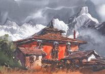 Landschaft, Berge, Himalaya, Nepal ama dablam
