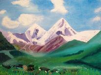 Sacharov, Spachteltechnik, Ölmalerei, Bergmassiv