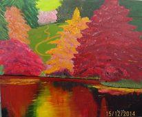 Landschaft, Herbst, Park, Spachteltechnik