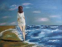 Küste, Spaziergänger, Dämmerung, Ölmalerei