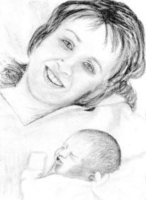Bleistiftzeichnung, Mutter, Tochter, Paula neugeboren