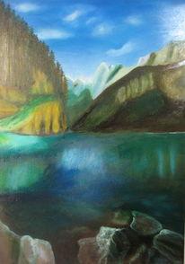 Österreich, Wasser, Landschaftsmalerei, Waldsee