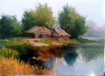 Russland, Haus, Ölmalerei, See