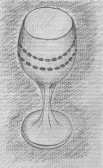 Bleistiftzeichnung, Stillleben, Glas, Zeichnungen