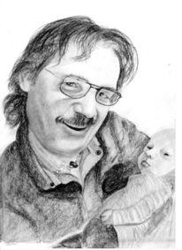 Glück, Bleistiftzeichnung, Opa, Neugeboren