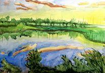 Sonnenaufgang, Spiegelung, Aquarellmalerei, Landschaft