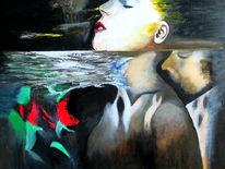 Ölmalerei, Unterwasser, Liebe, Surreal