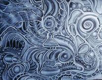 Fantasie, Silber, Acrylmalerei, Pinsel