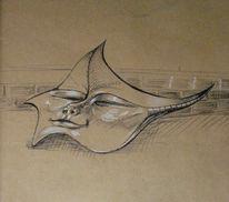 Grafik, Kugelschreiber, Weiß, Maske