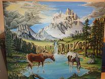 Berge, Landschaft, Pferde, Malerei