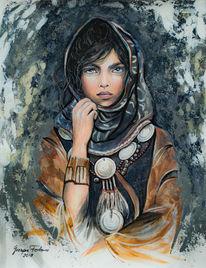 Portrait, Kopftuch, Malerei, Mischtechnik