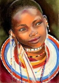 Afrika, Mädchen, Pastellmalerei, Schmuck
