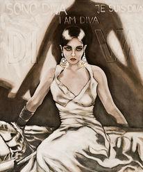 Schwarz, Frau, Weiß, Acrylmalerei