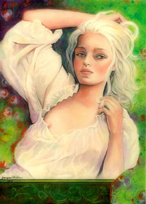 Mädchen, Blick, Portrait, Malerei