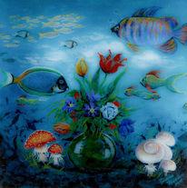 Fisch, Acrylmalerei, Wasser, Blumen