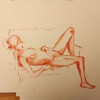 Zeichnung, Pastell malerei, Akt, Modell