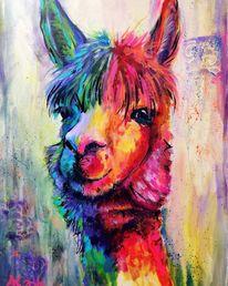 Alpaka, Bunt, Kamel, Neonleuchtfarben