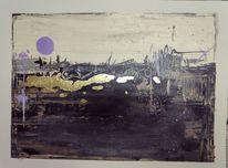 Landschaft, Modernstyle, Sonne, Acrylmalerei