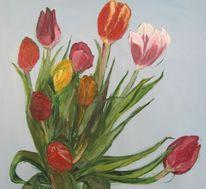 Tulpen, Blumen, Himmel, Blau