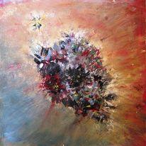 Blumen, Fliegen, Strahlen, Ölmalerei