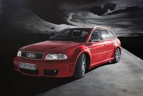 Straße, Audi, Silber, Schwarzweiß
