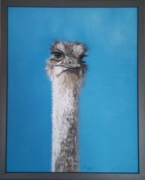 Vogel strauß, Malerei, Acrylmalerei, Strauß