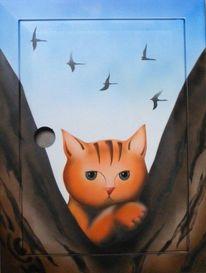 Vogel, Baum, Katze, Malerei