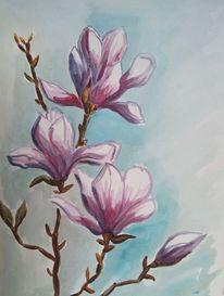 Pflanzen, Aquarellmalerei, Magnolien, Blüte